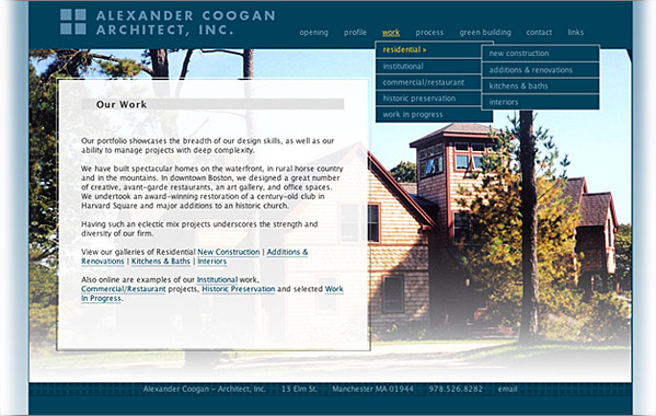 Client: Alex Coogan Architect<br>Service: Site Design &amp; Implementation<br>Status: Archived Due to Change In Firm