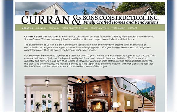 Client: Curran and Sons Construction, Inc.<br>Service: Site Design &amp; Implementation<br>Status: Live<br>Site: www.curranconstruction.net