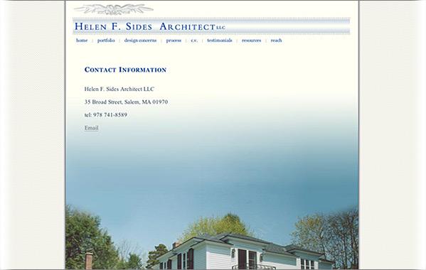 Client: Helen F. Sides Architect<br>Service: Site Design &amp; Implementation<br>Status: Live<br>Site: www.helensides.com