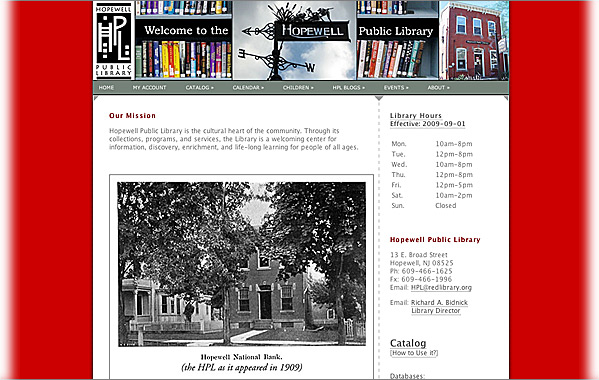 Client: Hopewell Public Library<br>Service: Site Design<br>Status: Maintained and Updated by Client<br>Site: www.redlibrary.org